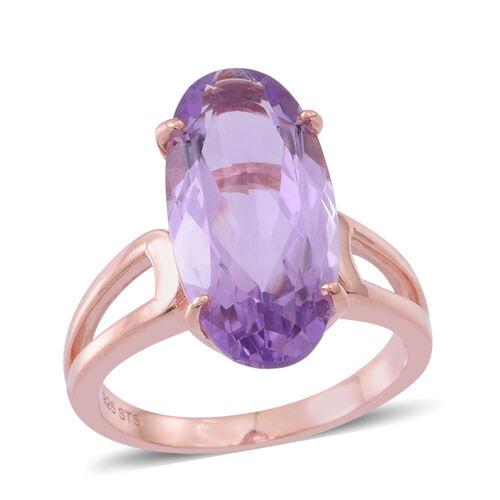 Rose De France Amethyst (Ovl) Ring in Rose Gold Overlay Sterling Silver 8.750 Ct.