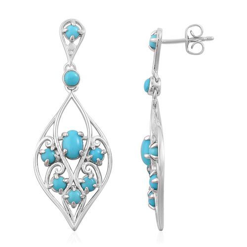 Arizona Sleeping Beauty Turquoise (Ovl) Drop Earrings (with Push Back) in Platinum Overlay Sterling Silver 1.000 Ct.