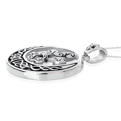 Fleur De Lis Pendant With Chain (Size 20) in Black Tone with Stainless Steel