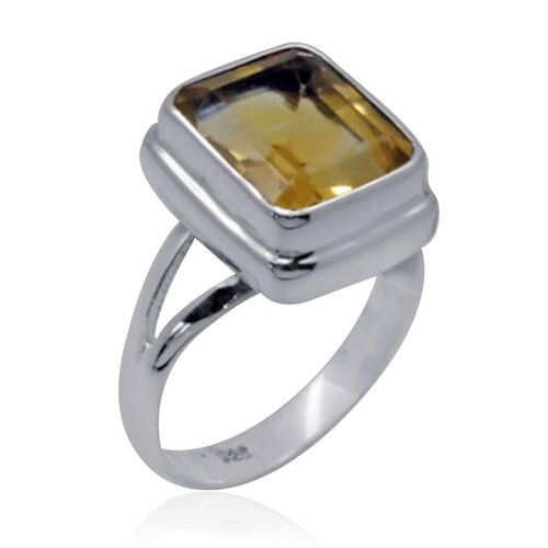 Royal Bali Collection Citrine (Oct) Solitaire Ring in Sterling Silver 5.490 Ct.