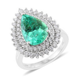 ILIANA 18K White Gold 5.75 Carat AAA Pear Boyaca Colombian Emerald Engagement Ring With Diamond SI G-H
