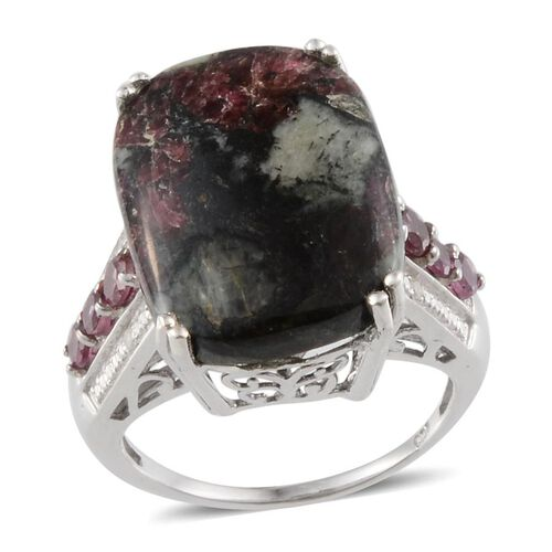 Natural Russian Eudialyte (Cush 12.50 Ct), Rhodolite Garnet and Diamond Ring in Platinum Overlay Sterling Silver 13.320 Ct.