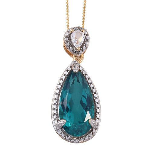 Capri Blue Quartz (Pear 4.75 Ct), White Topaz Pendant in 14K Gold Overlay Sterling Silver 5.000 Ct.