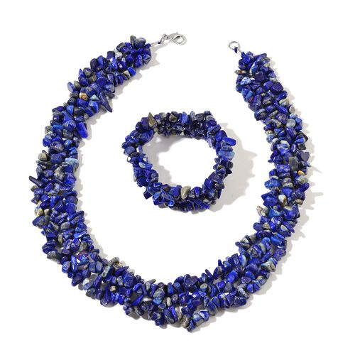 Lapis Lazuli Necklace (Size 18) and Stretchable Bracelet (Size 7.50) in Rhodium Plated Sterling Silver 853.850 Ct.