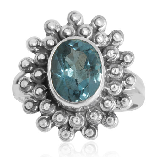 Electric Swiss Blue Topaz (Ovl) Solitaire Ring in Sterling Silver 3.110 Ct.