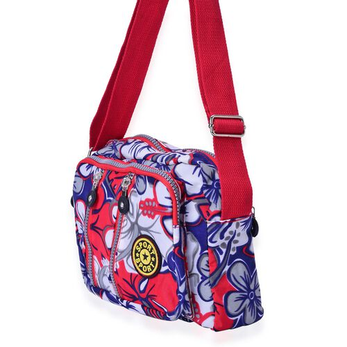 Red and Multi Colour Floral Pattern Waterproof Sports Bag with External Zipper Pocket and Adjustable Shoulder Strap (Size 22.5X16.5X6 Cm)