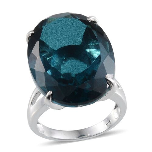 Indicolite Quartz (Ovl) Solitaire Ring in Platinum Overlay Sterling Silver 32.000 Ct.