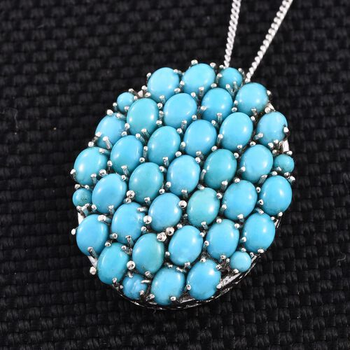 Arizona Sleeping Beauty Turquoise (Ovl) Cluster Pendant With Chain in Platinum Overlay Sterling Silver 6.750 Ct.