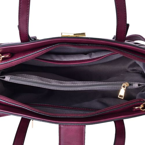 Classic Burgundy Metallic City Tote Bag with External Pocket and Adjustable Shoulder Strap(Size 34x24.5x13 Cm)