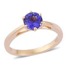 ILIANA 18K Y Gold AAA Tanzanite (Rnd) Solitaire Ring 1.250 Ct.