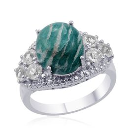Russian Amazonite (Ovl 5.00 Ct), White Topaz Ring in Platinum Bond 6.250 Ct.