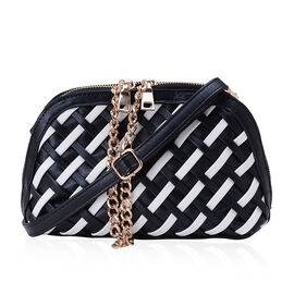 Black and White Colour Weave Pattern Clutch Bag with Adjustable and Removable Shoulder Strap (Size 23x14x7 Cm)