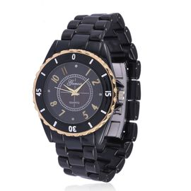 Diamond studded GENOA Black Ceramic Japenese Movement Watch Black MOP Dial with Water Resistant Watch in Gold Tone with Stainless Steel Back