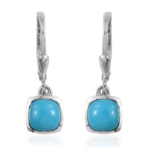 Arizona Sleeping Beauty Turquoise (Cush) Lever Back Earrings in Platinum Overlay Sterling Silver 1.500 Ct.