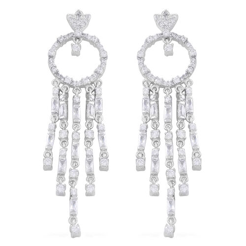 Limited Edition - Signature Collection - ELANZA AAA Simulated White Diamond (Bgt) Multi Drop Earrings (with Push Back) in Rhodium Plated Sterling Silver