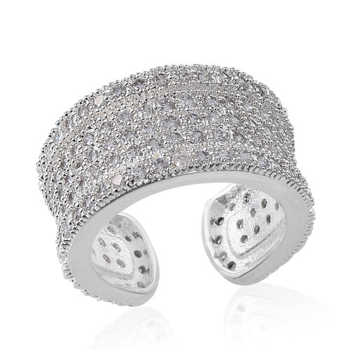 Simulated White Diamond Adjustable Band Ring in Silver Bond