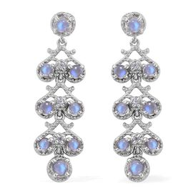 Rainbow Moonstone (Rnd), Natural Cambodian Zircon Earrings (with Push Back) in Platinum Overlay Sterling Silver 3.750 Ct.