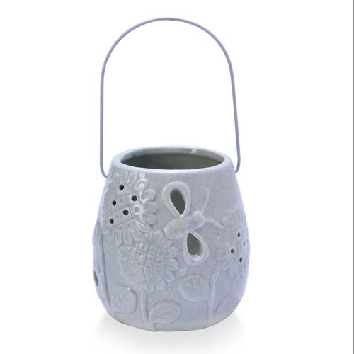 Blue Colour Sunflower Pattern Ceramic Lantern