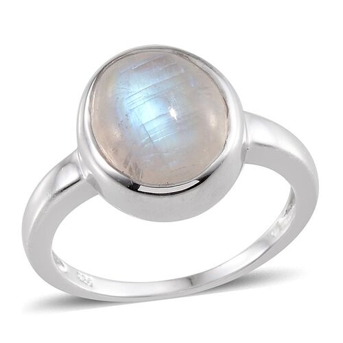 Rainbow Moonstone (Ovl 5.75 Ct) Solitaire Ring in Platinum Overlay Sterling Silver 5.750 Ct.