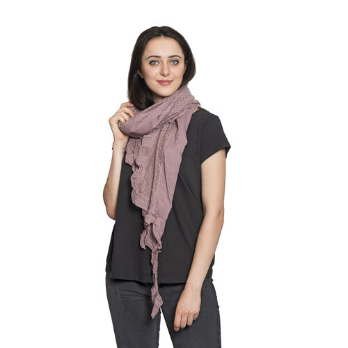 100% Cotton Multi Colour Floral Printed Ruffled Lavender Colour Scarf (Size 200x40 Cm)