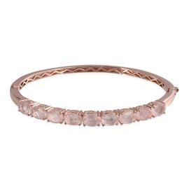 Rose Quartz (Ovl) Bangle (Size 7.5) in ION Plated Rose Gold Bond 11.750 Ct.