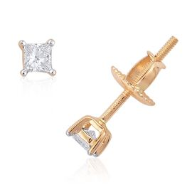 ILIANA 18K Y Gold IGI Certified Diamond (Sqr) (SI/G-H) Stud Earrings (with Screw Back) 0.250 Ct.