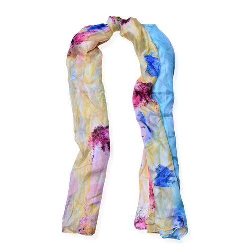 100% Mulberry Silk Multi Colour Tree and Hill Pattern Yellow and Pink Colour Scarf (Size 180x100 Cm)