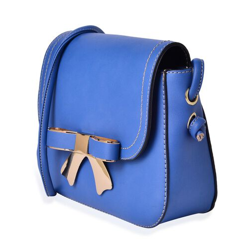 Blue Colour Crossbody Bag with Shoulder Strap (Size 21.5x17x6.5 Cm)