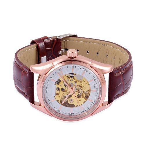 GENOA Automatic Skeleton White and Rose Gold Colour Dial with Pink Austrian Crystal Water Resistant Watch in Rose Gold Tone With Chocolate Leather Strap