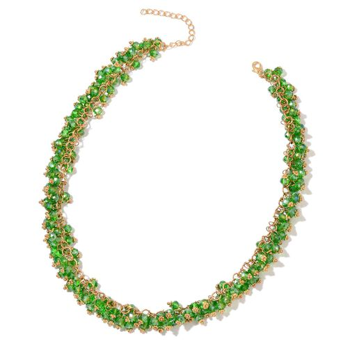 Simulated Russian Diopside Necklace (Size 18 with 2 inch Extender) and Hook Earrings