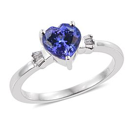 ILIANA 18K White Gold 1.25 Carat AAA Tanzanite and Diamond (SI/G-H) Heart Ring