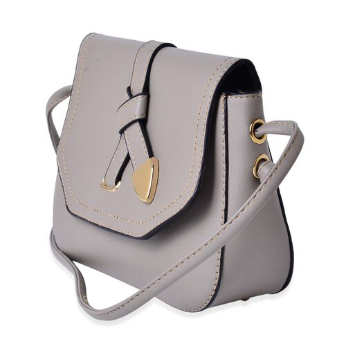 Grey Colour Crossbody Bag with Shoulder Strap (Size 21.5x17x6.5 Cm)