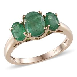 9K Y Gold Kagem Zambian Emerald (Ovl 1.25 Ct) 3 Stone Ring 2.000 Ct.