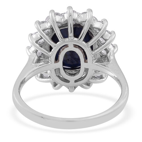 Blue Sapphire (Ovl 5.75 Ct), White Topaz Ring in Rhodium Plated Sterling Silver 7.250 Ct.