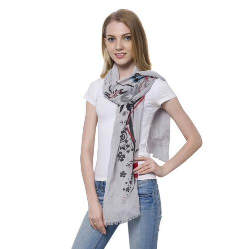 Artistic Floral and Female Face Pattern Grey Colour Scarf (Size 180x70 Cm)