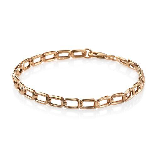 14K Gold Overlay Sterling Silver Link Bracelet (Size 7.5), Silver wt 3.51 Gms.