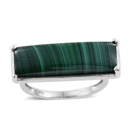 Malachite (Bgt) Ring in Platinum Overlay Sterling Silver 12.000 Ct.
