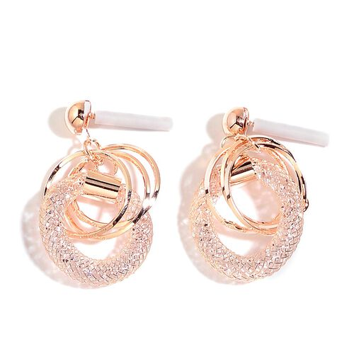 White Austrian Crystal Pendant With Chain and Earrings (with Push Back) in Rose Gold Tone