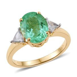 ILIANA 18K Y Gold Boyaca Colombian Emerald (Ovl 2.05 Ct), Diamond Ring 2.350 Ct.