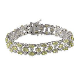 AA Hebei Peridot (Ovl), Diamond Bracelet in Platinum Overlay Sterling Silver (Size 7) 11.770 Ct.