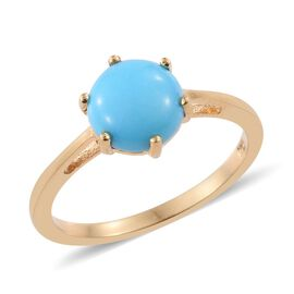 Arizona Sleeping Beauty Turquoise (Rnd) Solitaire Ring in 14K Gold Overlay Sterling Silver 1.500 Ct.