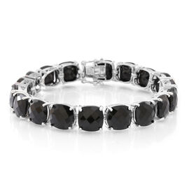 Boi Ploi Black Spinel (Cush) Bracelet (Size 7.5) in Rhodium Plated Sterling Silver 100.000 Ct.