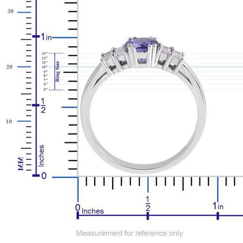 ILIANA 18K White Gold 1 Carat AAA Tanzanite Round, Diamond SI G-H Ring.