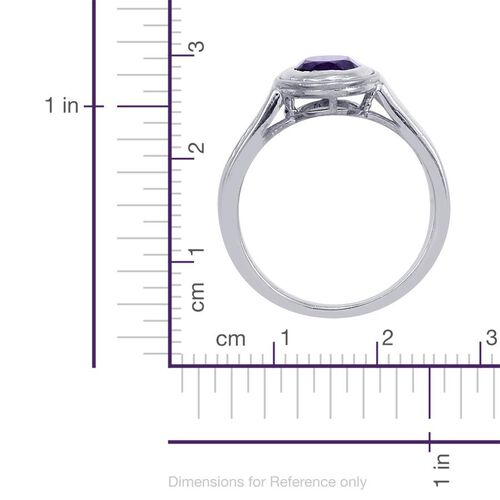 Zambian Amethyst (Ovl 1.00 Ct), Diamond Ring in Platinum Overlay Sterling Silver 1.100 Ct.