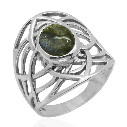 Royal Bali Collection Labradorite (Ovl) Solitaire Ring in Sterling Silver 3.070 Ct.
