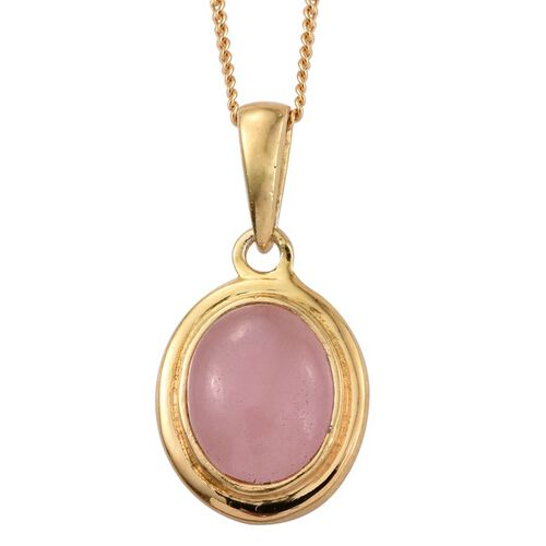 Pink Jade (Ovl) Solitaire Pendant With Chain in 14K Gold Overlay Sterling Silver 2.500 Ct.