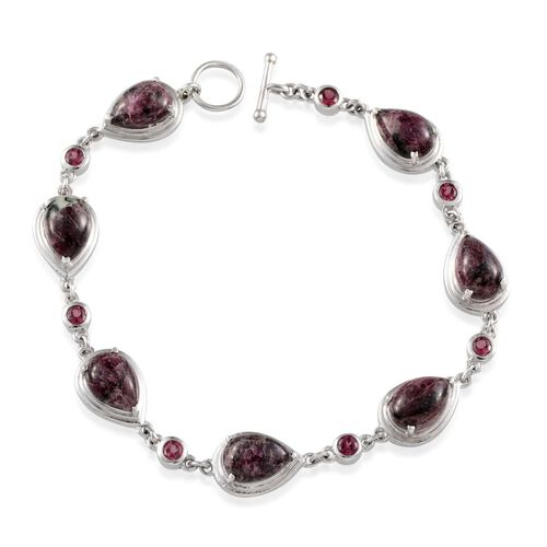Natural Russian Eudialyte (Pear), Rhodolite Garnet Bracelet in Platinum Overlay Sterling Silver (Size 7.5) 14.500 Ct.