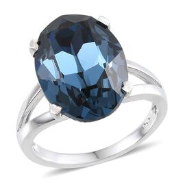 Crystal from Swarovski - Montana Crystal (Ovl) Ring in ION Plated Platinum Bond 10.500 Ct.
