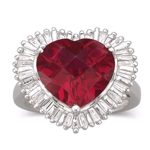 African Ruby (Hrt 6.00 Ct), White Topaz Ring in Rhodium Plated Sterling Silver 6.500 Ct.
