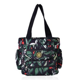 Black and Multi Colour Leaves Pattern Waterproof Sport Bag with External Zipper Pocket (Size 28x28x10 Cm)